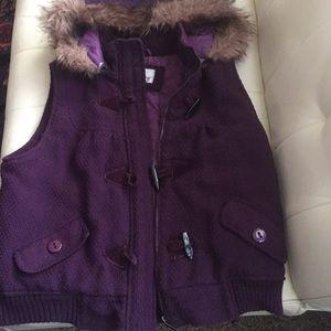 hooded fur trimmed vest